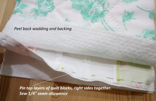 1. Joining top layer of quilt sandwich