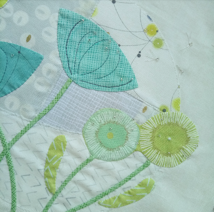 Close up of dewdrops applique by Dawn Honeybee Cloths